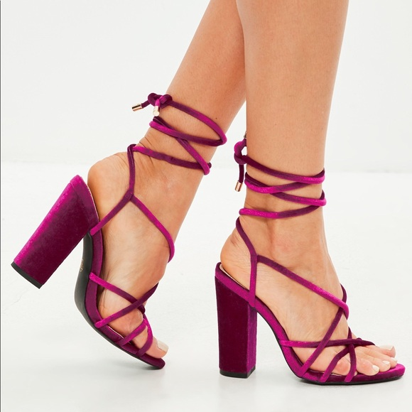 a5be155422 Missguided Shoes | Make Your Offer Pink Velvet Strappy Heels | Poshmark